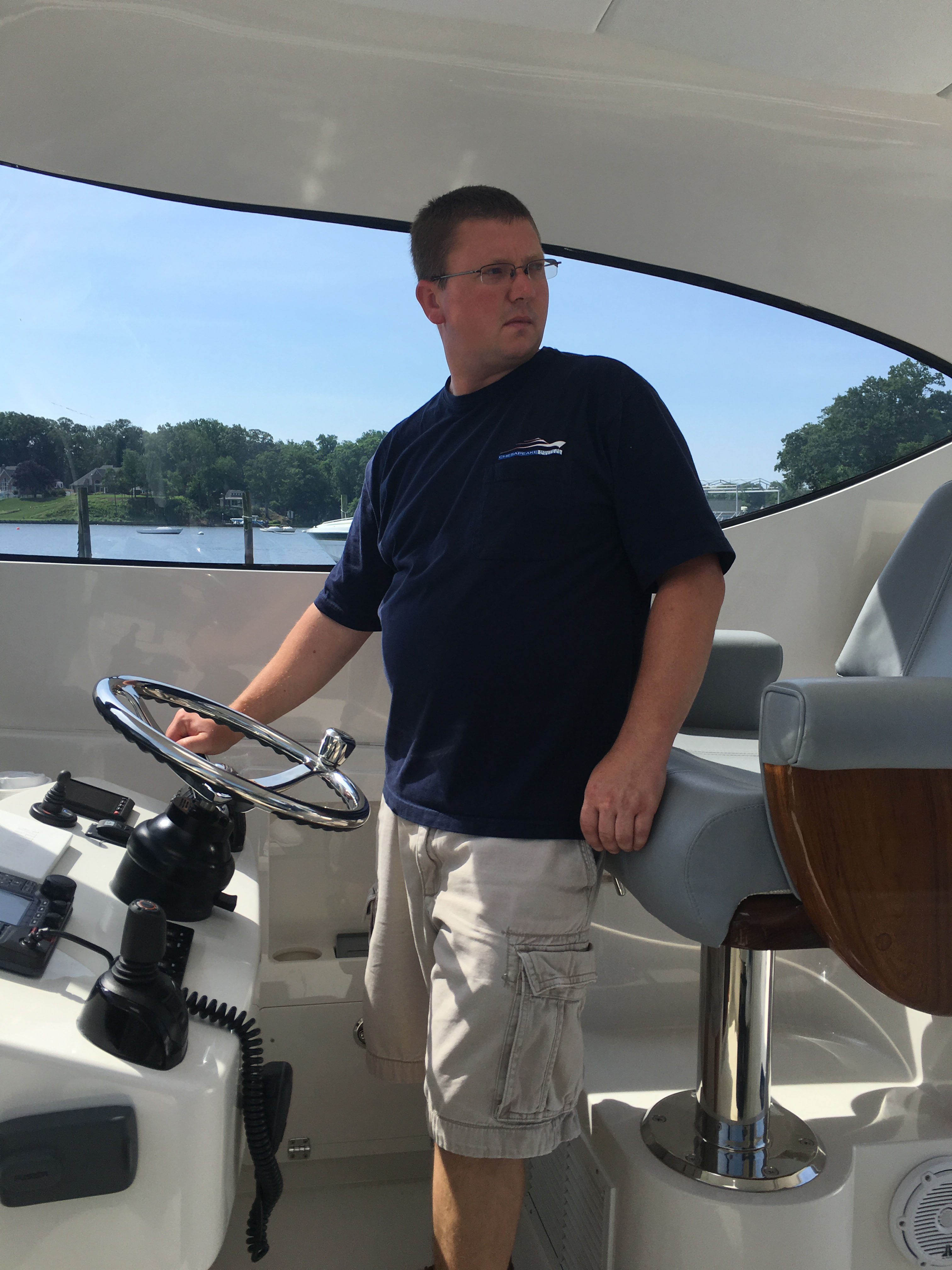Captain Steve at the helm